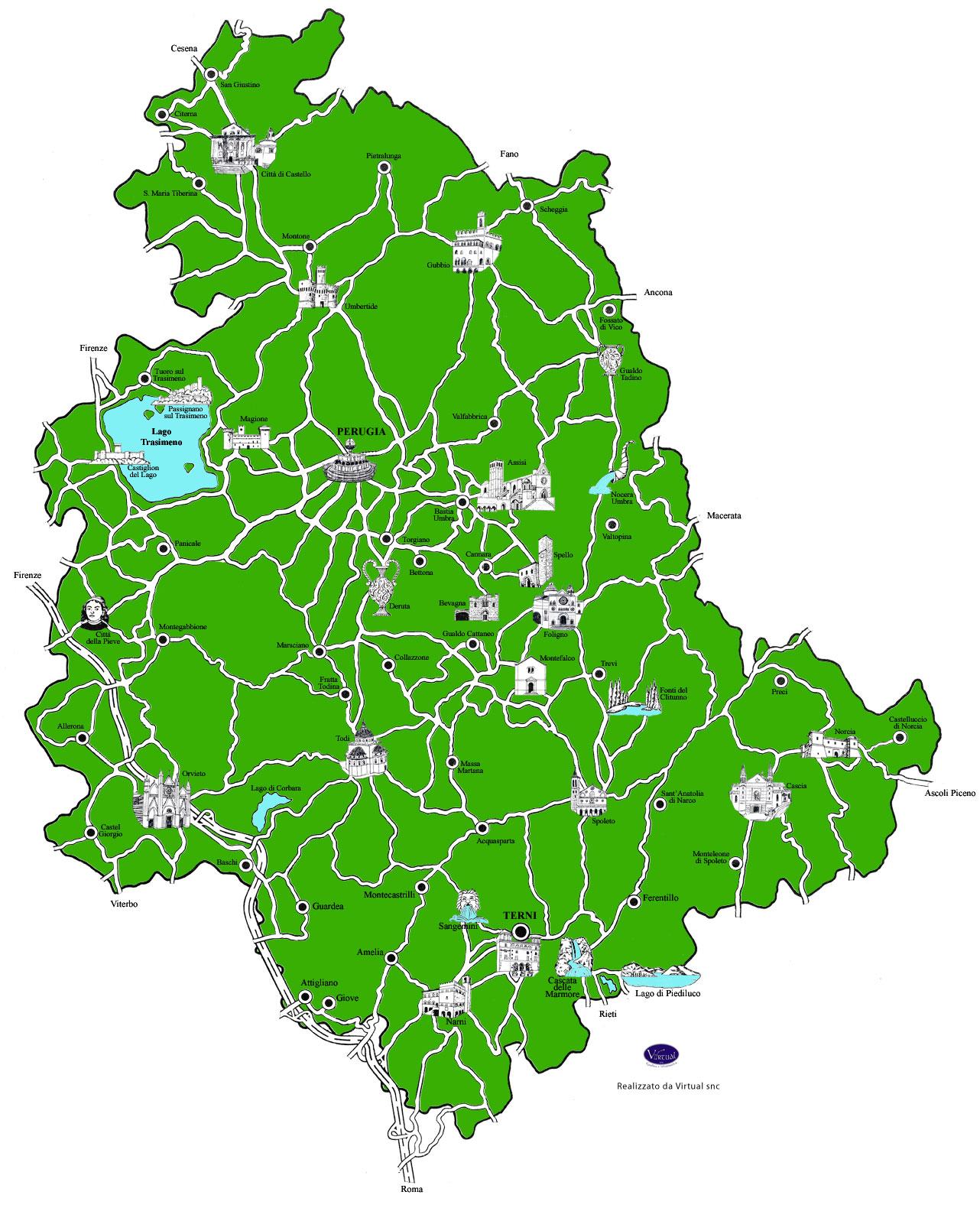 Cartina Comuni Umbria.Umbria Virtual Mappa Dell Umbria